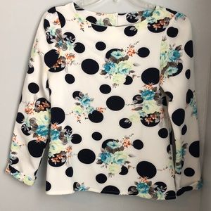 Tops - White polka dot and floral blouse